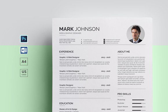 """ Resume""is professional, clean and minimal cv /resume template to assists you achieve desirable job. Flexible designs of the pages are easy to use and customize, so for any opportunity you can tailor your resume. The resume files are in Photoshop and MS Word"
