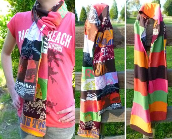 Bufandas con camisetas recicladas