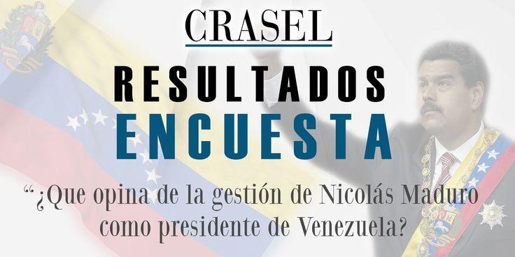 Resultados de la Encuesta: ¿Que opina de la gestión de Nicolás Maduro como presidente de Venezuela? http://www.crasel.tk/resultados-de-la-encuesta-que-opina-de-la-gestion-de-nicolas-maduro-como-presidente-de-venezuela/1253
