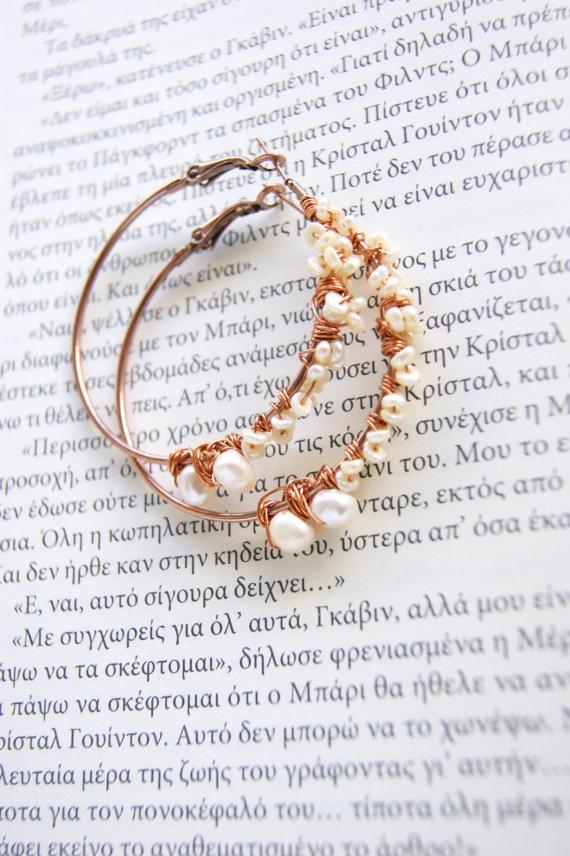 Beaded hoop earrings with real pearls by RenatasArt on Etsy, €14.00