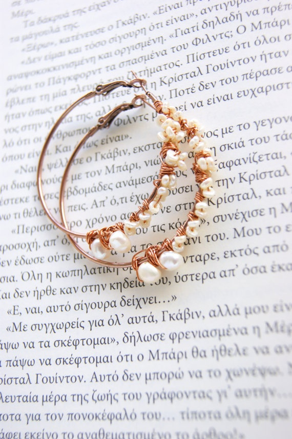 Beaded hoop earrings with real pearls by RenatasArt on Etsy, €14.00