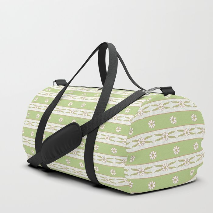 We upped the Duffle Bag game. Your new favorite gym and travel bags feature crisp printed designs on durable poly poplin canvas. Constructed with premium details for ultimate comfort. Available in three sizes.    #Letucce #Green #Stripes #flower #lines #daisies #leaves #blossom #fresh #calm #Springtime #Pastel #Flowery #garden #fresh #girly #Mia #society6 #Duffle #Bag