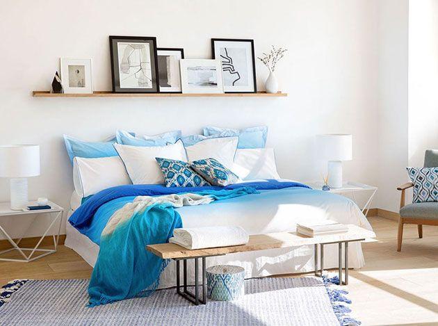 10 ideas para decorar la pared del cabecero de la cama con estanterías