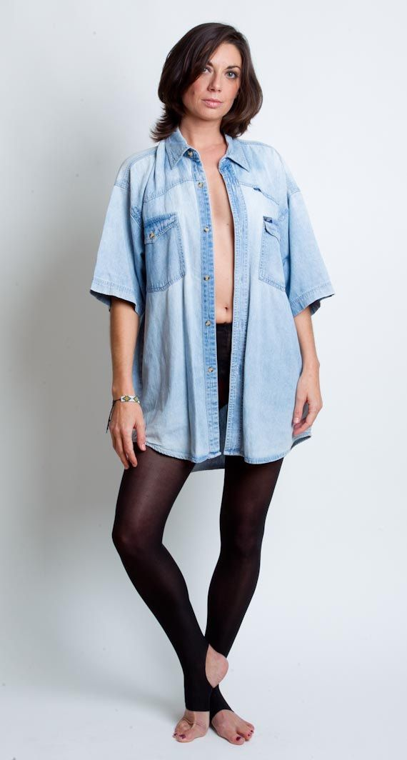 1980's Blue Jean Shirt  Vintage Oversized Denim Faded by mijumaju, $35.00
