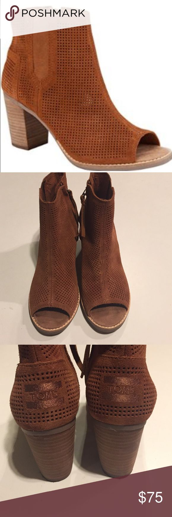 TOMS Majorca Peep Toe Booties in Cinnamon Suede TOMS Majorca Peep Toe Booties in Cinnamon Suede. Size 7.5. This was a display shoe. This color is gorgeous and perfect for fall! TOMS Shoes Ankle Boots & Booties