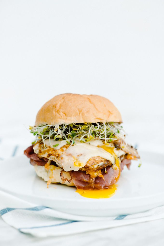 The Adventures of Bob & Shan - Spicy Sriracha Cabbage, Pastrami, & Fried Egg Sandwich