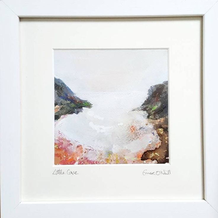 'Little Cove' is an acrylic & mixed media Irish Seascape with touches of 24ct gold leaf. Painted on 5x5* 300gsm cold pressed watercolour paper, which has been mounted in a 8x8* handnade frame. *approx measurements. €65 P&P I use my art to connect my sea loving customers to the powe