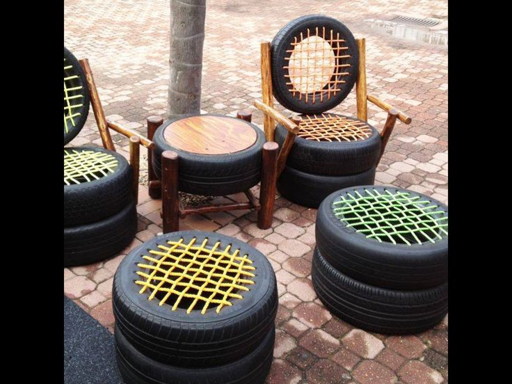Tire furniture   Webbing with colored rope