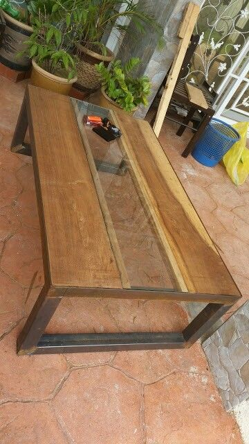 Steel leg and wood top custom coffee table for sale $400 +60187857275