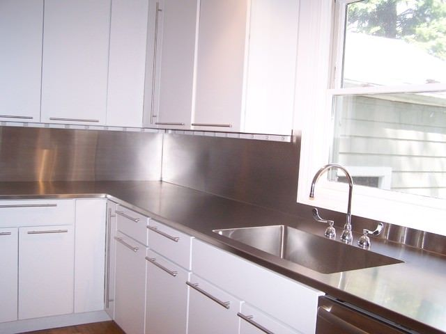 1000 images about stainless steel countertops on for Stainless steel countertop with integral sink