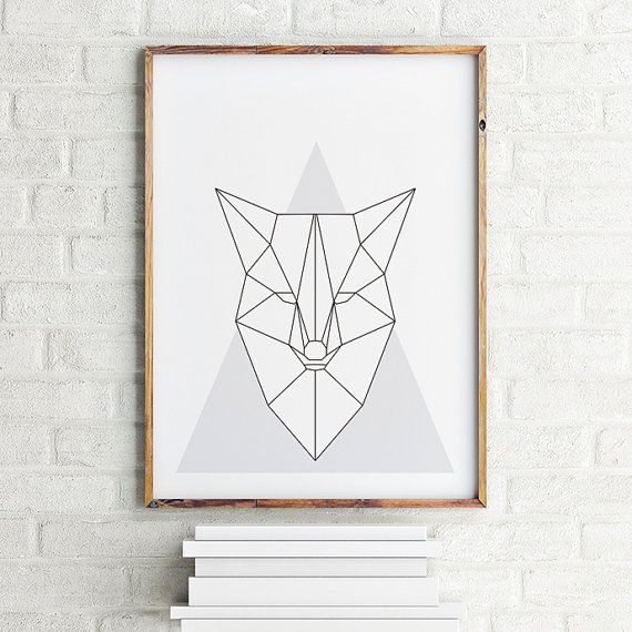 Geometrical art print poster Fox / Printable by MBstudioprint