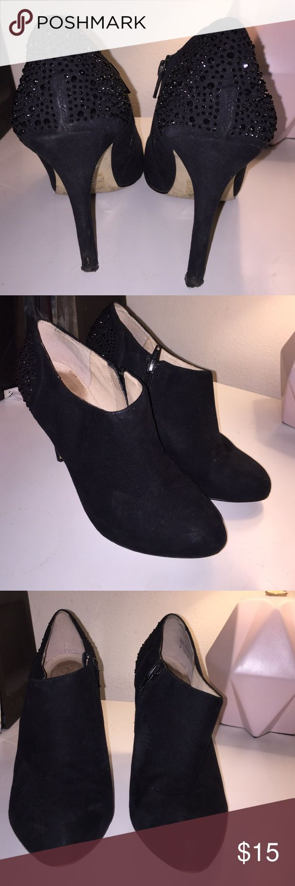 "Alsdo Suede Black Rhinestone Booties Aldo Black Suede Rhinestone Booties. Kept in good condition, but back of heels are a little ripped and bottom of heels will probably need to be replaced. 4"" heel Aldo Shoes Ankle Boots & Booties"