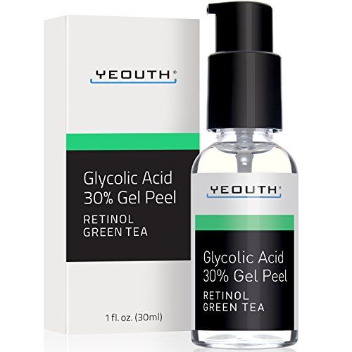 """Fast Track to Younger Looking Skin with YEOUTH Maximum-Strength Medical Quality 30% Glycolic Acid Gel Peel. Boosted with Retinol and Green Tea Extract. This medical grade chemical peel was professionally formulated to help treat various signs of aging such as acne scars, fine lines, wrinkles, uneven skin texture and tone, and large pore size. This product contains 15-20 full face peels. Complete use instructions included with product."""