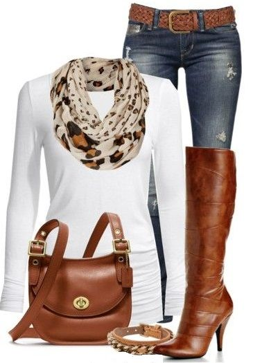 Fashion Style Combination - A blue denim jean, with a white long-sleeve blouse, ... 15