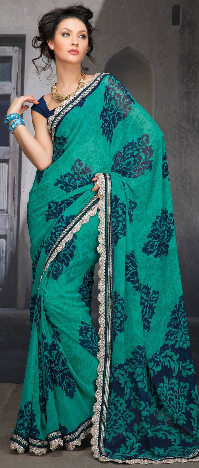 Turquoise #Blue and Blue Faux Georgette #Saree with Blouse @ $31.83