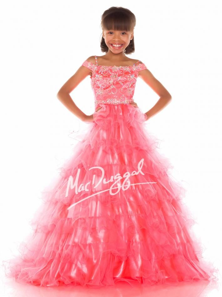 Neon Coral Girls Pageant Gown | Mac Duggal 48161S