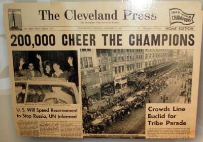 October 11, 1948 – The Cleveland Indians defeat the Boston Braves to win the World Series, 4 games to 2.