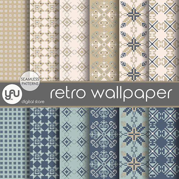 "Vintage digital paper: ""RETRO WALLPAPER"" with vintage scrapbook paper, vintage seamless patterns on ivory and blue for scrapbooking, cards"