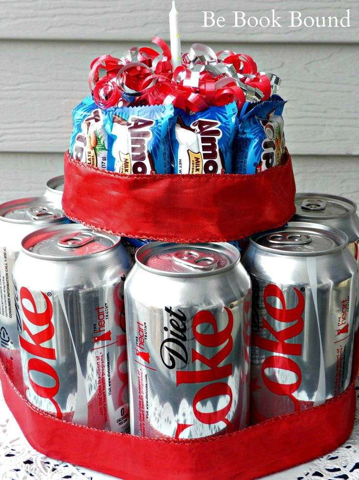 a no-bake birthday cake with their fav drink and fav candy.