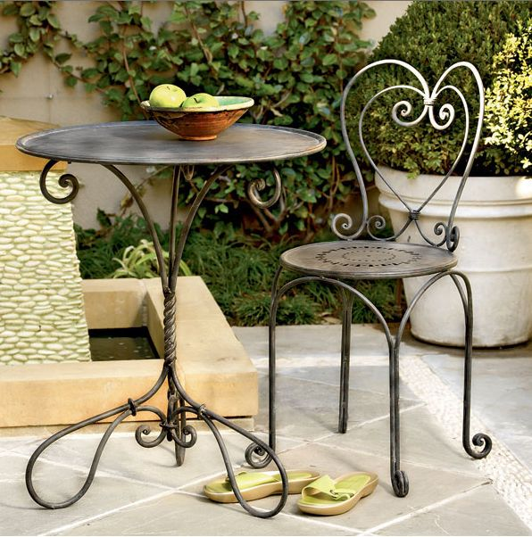 Wrought iron coffee table and chair