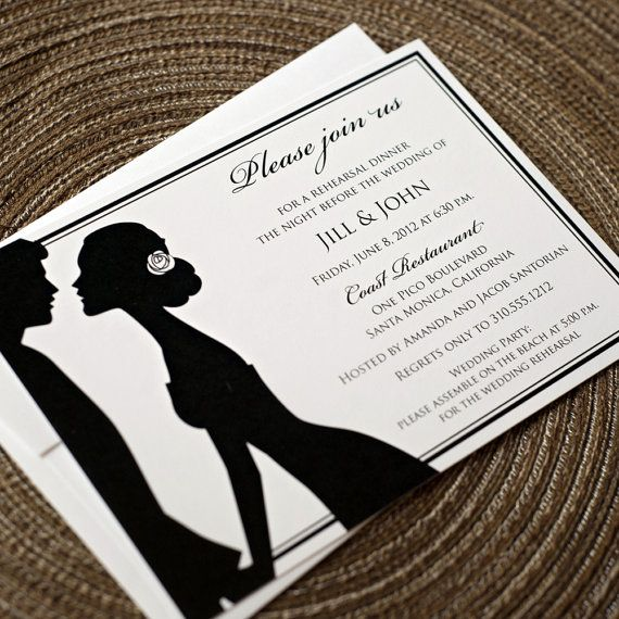 Silhouette Wedding Rehearsal Invitation By Eden Studio