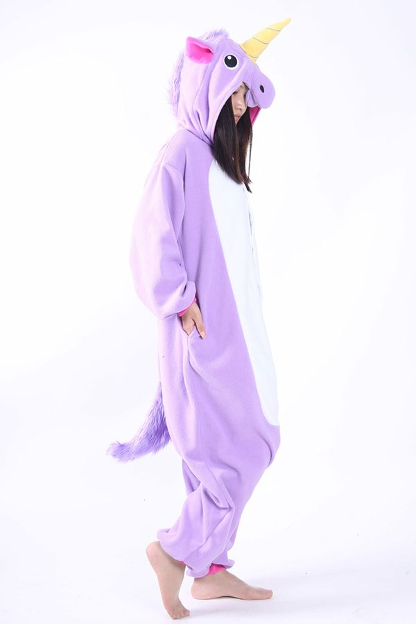 Fleece Purple Unicorn Onesie Pajama