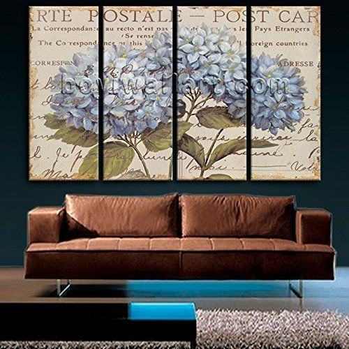 """Huge Contemporary Abstract Floral Painting Hydrangea Flower Picture Print Canvas, Oversized Flower Wall Art, Living Room, Tea. Huge Contemporary Abstract Floral Painting Hydrangea Flower Picture Print Canvas Subject : Flower Style : Contemporary Panels : 4 Detail Size : 24""""x60""""x4 Overall Size : 99""""x60"""" = 251cm x 152cm Medium : Giclee Print On Canvas Condition : Brand New Frames : Gallery wrapped Availability: *Important: This is a very large size wall art, and we are not able to ship it..."""