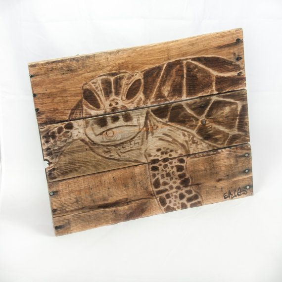 Sea turtle Decor Beach art Sea turtle Painting Ocean art Rustic Beach decor Wooden beach art Outdoor art Lake house decor Nautical wall art