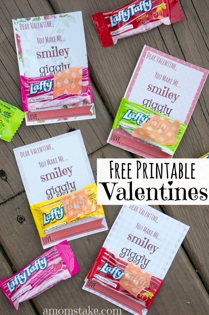 "Absolutely darling ""You Make Me Laffy"" free printable valentines day cards perfect for kids, friends, classrooms. Attach a laffy taffy candy and you're done! So quick, easy, and cheap! via @amomstake"