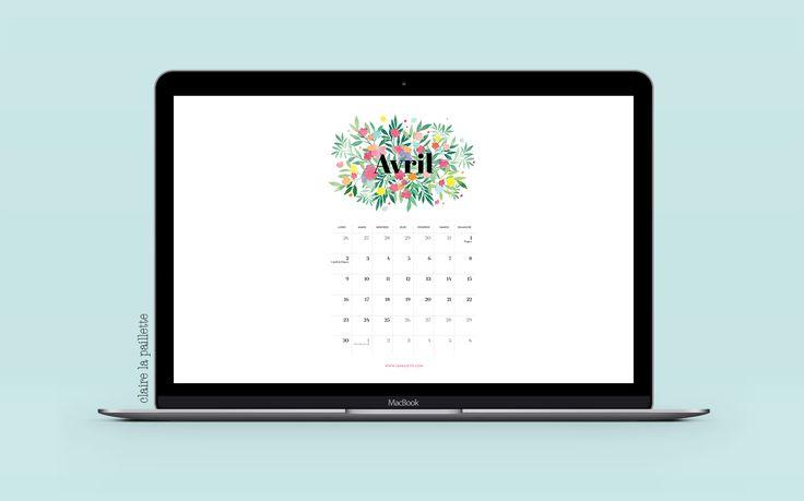 calendrier avril 2018 calendar april flower spring watercolor illustration drawing french illustratrice fleurs vegetal leafs