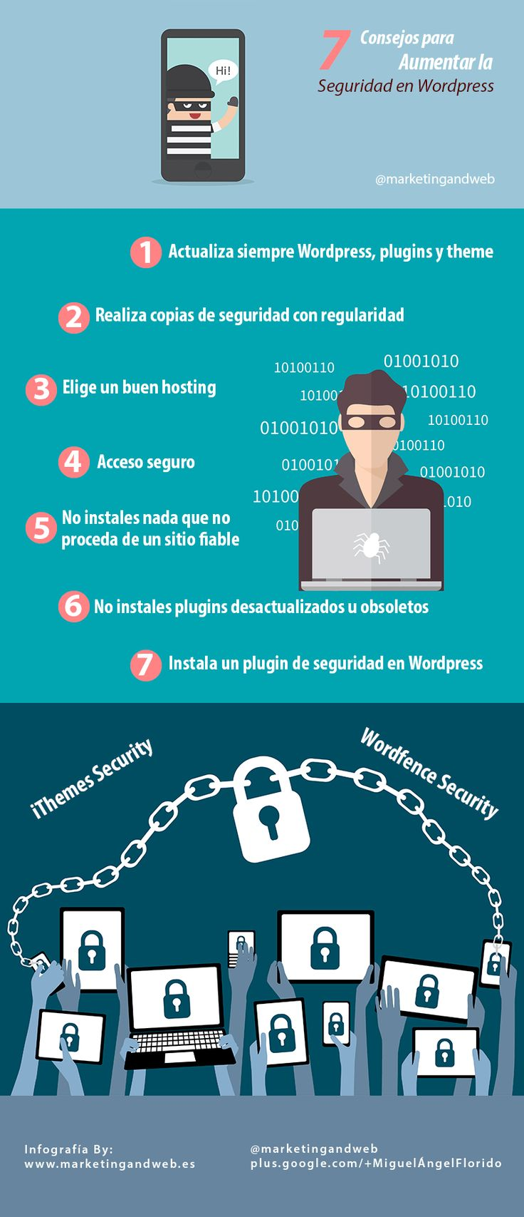 #Infografia 7 consejos para aumentar la seguridad en #WordPress by @marketingandweb