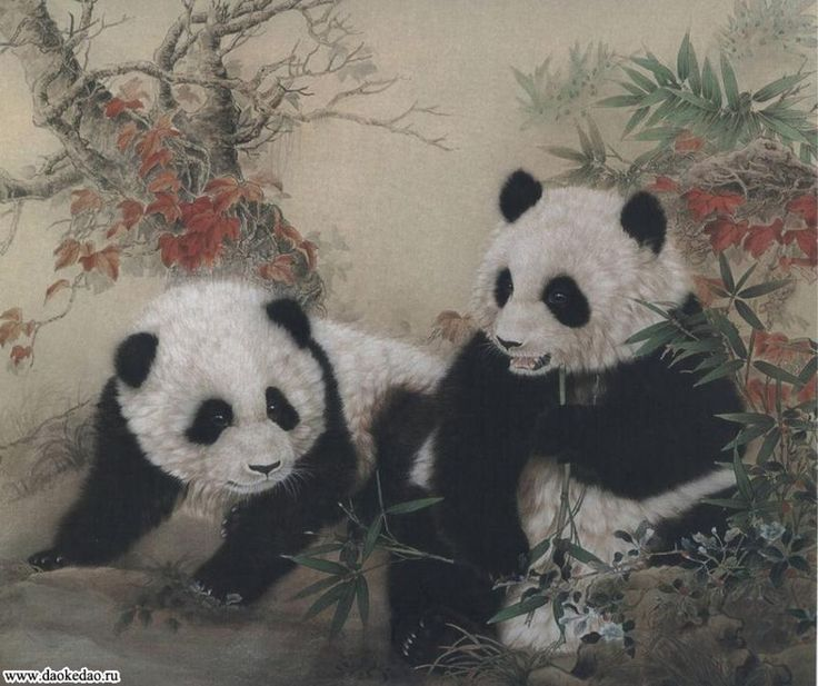 техника сухой кисти в живописи РИСУНОК ПАНДЫ - Поиск в Google