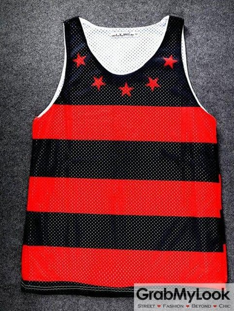 GrabMyLook Black Red Stripes Stars Net Sleeveless Mens T shirt Vest Sports Tank Top