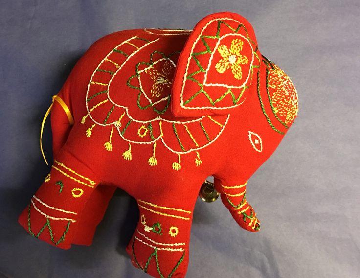 Gorgeous red elephant - fair trade