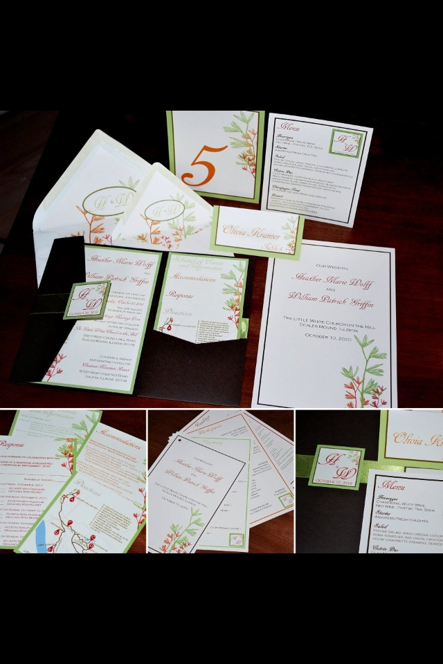 wedding card design software for android%0A Floral wedding invitations  sage and orange these look a bit too Christmas   like that