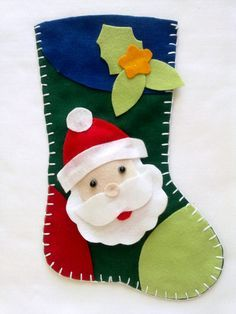 Bota de Natal em Feltro Papai Noel | Fê Jeannes Ateliê | Elo7