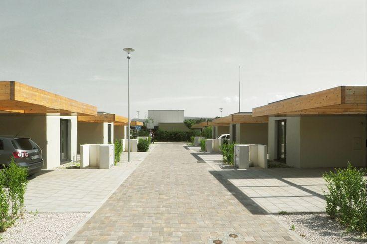 wooden carports row housing