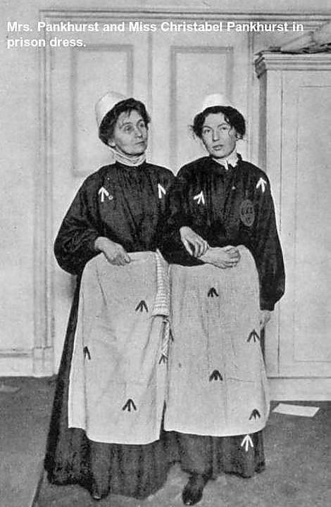 Mrs. Pankhurst and Miss Christabel Pankhurst in prison dress.