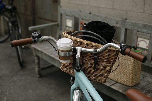A simple, but very useful urban accessory: the bicycle coffee cup holder.