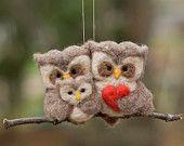 Иглы Felted орнамент совы - семья из трех человек