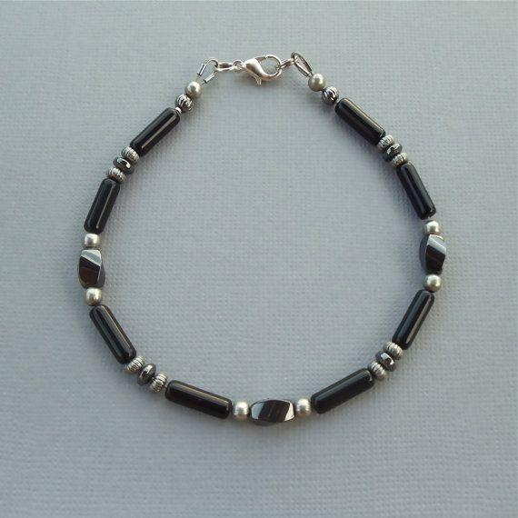 Mens Magnetic Bracelet Beaded Jewelry Gemstone by Dragonpop $28 75