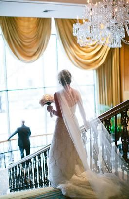 "The ""First Look"" for our Bride & Groom on our Grand Staircase at Four Seasons Hotel Boston"