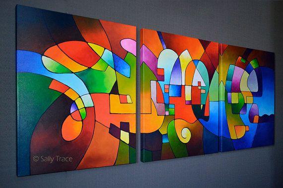 Duidelijke Focus 2 is een set van drie giclee prints gemaakt van mijn oorspronkelijke geometrische abstract drieluik schilderij. Een prachtige geometrische abstract met een verheffend gevoel, levendige vormen, aarde kleuren en heldere blues, magenta, geel, helder rood. Drie doeken van 24 x 30 inch = 30 x 72 inch, laat alstublieft een paar extra duim te gaan tussen de doeken bij het meten van uw ruimte. Kleinere grootte hier: https://www.etsy.com/listing/243023190 B...