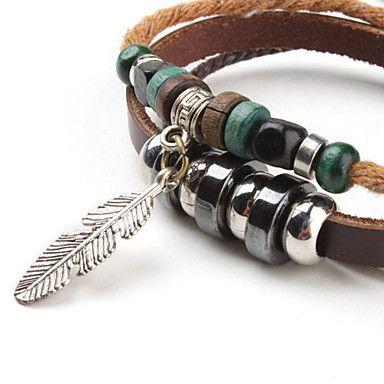 EUR € 3.21 - Multicouche Bracelet Vintage Tissu et cuir avec Feuille, livraison gratuite pour tout gadget!