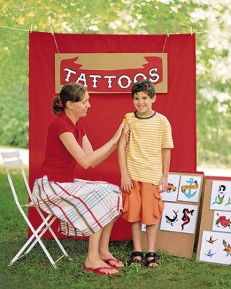 Temporary Tattoo Booth Temporary tattoos make memorable favors at a carnival-themed party. Set up a booth and enlist a grown-up to play tattoo artist.