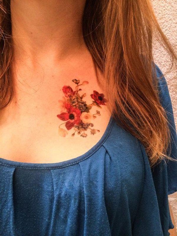 Flower Chest Tattoos #TattooModels #tattoo