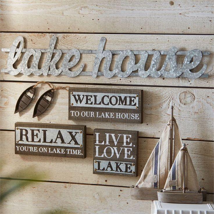 Lake House Living Room Decor: Lake House Metal Sign