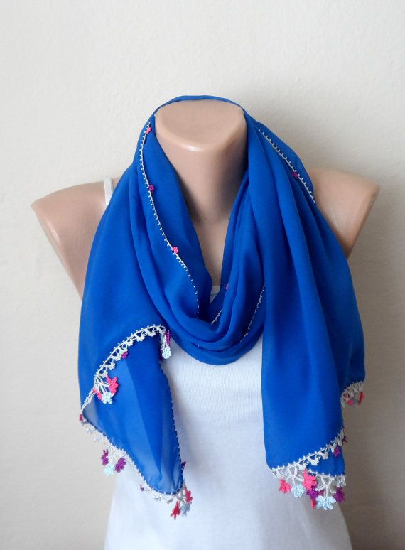 royal blue scarf fashion scarf turkish scarf oya by DamlaScarf