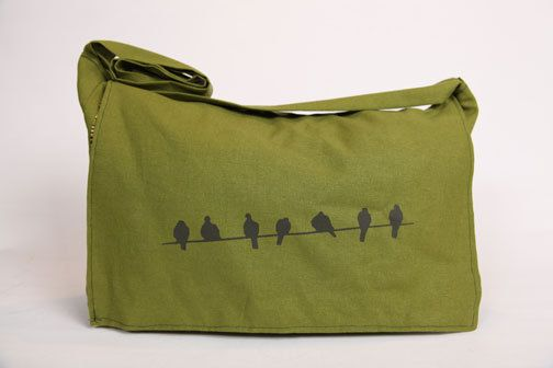 Handmade Laptop Bag / Messenger Bag  Birdies by Bullabags on Etsy, $40.00