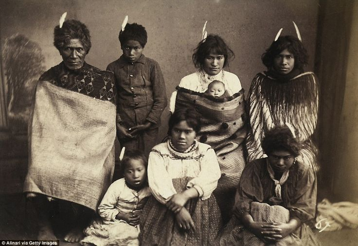 Pulman also took photos illustrating how the indigenous people of New Zealand lived, such as this group shot of a Maori family